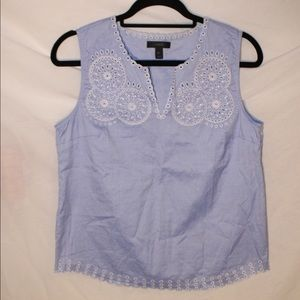 J Crew Blue and White Eyelit Top Size 6